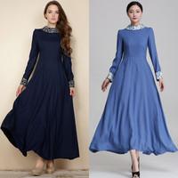 2014 autumn and winter new fashion women dress retro print floor length long sleeve women dress light blue and navy S-XXXL