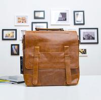 New 2014 Vintage Pu Leather Backpack School Bags Men's Travel Bag Large Mochilas Feminina Men Bag 28*10*40CM Men Backpack