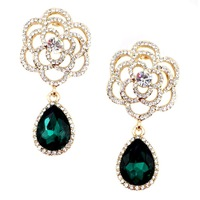 New 2014 high quality Trend fashion hot sale women rose flower crysta vintage statement Earrings for women jewelry Factory Price