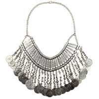 2014 NEW Z style Fashion Vintage Unique collar pendant  Bib Chunky metal coin tassel Necklace Statement Jewelry for Women