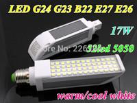 Newest ! 17W 52leds 5050Schip E27 B22 G24 LED Corn Horizon Down Light Bulb Lamp Lighting 85~265V10X/lot