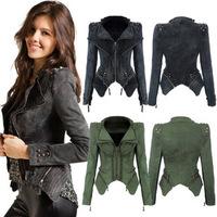 Women Denim Jackets 2015 Autumn Short Denim Jeans Jacket Zipper Rivet Long Sleeve Outerwear Coat For Women 3 Colors A468-90
