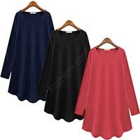 On Sale Women's Casual T Shirt Dress Women Clothing Plus Size Loose Long Sleeve Autumn Winter Chiffon Blouse Dress SV03 CB031258