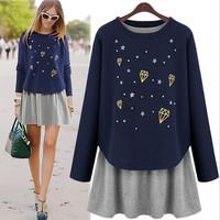 2014 autumn new fashion casual women dress plus size long sleeve women pullover with women vest dress fake 2 pec M-5XL 2 color