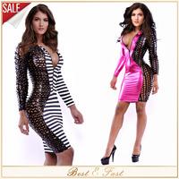 Women Summer Dress White Black Stripe Bodycon Bandage Party Dresses Faux Leather Patchwork Clubwear Plus Size Women Clothing XXL