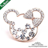 Christmas Gift Lovely Mickey Christmas Rhinestone Brooch Animal Jewelry 5pcs/lot Free Shipping