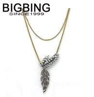 BigBing fashion jewelry fashion crystal feather pendant necklace choker Necklace fashion jewelry set wholesale jewelry W350