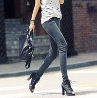 Free shipping Europe 2014 new spring and autumn elastic slim denim blueshes pencil Pants long design women jeans 6 sizes