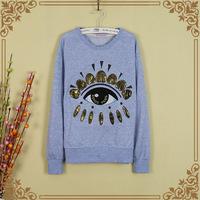 2014 Autumn new fashion women eye design long sleeve cotton thick T-shirt