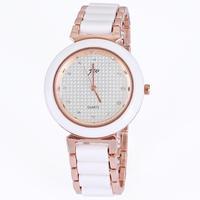 Crystal diamonds brand round white watches ceramic bracelet rose gold plated alloy fashion ladies gift wholesale dropship
