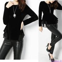 Velvet Winter Black Tops Womens Autumn Warm Blouses Lace T Shirt Long Sleeve ANL8211