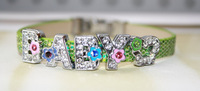Sparkling Floral Rhinestone Letter Baby Bracelet , Choose Letters and Colors, Free Shipping ! 6pcs/lot! Y-0460