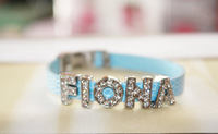 Baby Blue Charm Rhinestone Letter FLONA Bracelet ,Choose Letters and Colors, Free Shipping ! 6pcs/lot! Y-0464