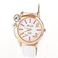 Hot Big Diamond Rhinestone Watches relojes Gift PU Fashion Dress Watch Luxury quartz Clock leather Free Shipping