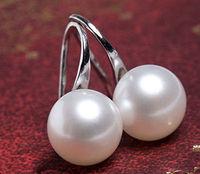 11-12mm White Akoya Freshwater Pearl Sterling Silve Hook Earring Drop Earrings/ Free Shiping