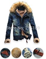 Men Clothing Jean Coat outwear Fur Collar Denim Jacket men's jackets men jacket winter Long sleeve MXXL