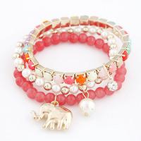 2014 Real Pulseiras Bracelets For Women Korean Fashion Wild Elephant Pendant Multi-element Multi-bracelet Bangle Bead Bracelet