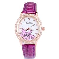 High quality brand oval watches leather ladies crystal rhinestone flower quartz analog quartz free shipping