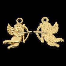 Cadmium Free & Nickel Free & Lead Free Unfading Golden Alloy Pendants, Cupid, 21x15x2mm, Hole: 2mm