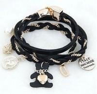 2014 Sale Rushed Pulseira Masculina One Direction Pulseiras Teddy Bear Wild Multi-element Multi-layer Bracelet Fashion Jewelry