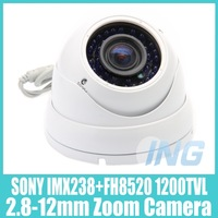 "Waterproof  2.8-12mm 1/3"" SONY IMX238+FH8520 1200TVL 36 LED Night Vision Zoom Camera CCTV Camera (OSD Optional,Free Shipping)"