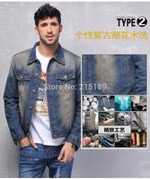 Vintage stylish Jeans denim jacket coat men sportswear outdoors casual jackets clothing denim jeans cotton