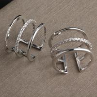 Retro Fashion Zircon Multi-row Rhinestone Ring Hollow Female
