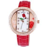 Fashion women dress ladies brand SANEESI quart watch with rhinestones crystal diamonds rose flower hours marks free shipping