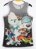2014 Novelty 3d animal zoo tiger fish Insects printed mens vest  fashion 3d t-shirts sportswear shirts