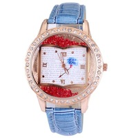New fashion round quartz women watches moveable diamond ladies wrist watch 5 colors pu leather book design free shipping
