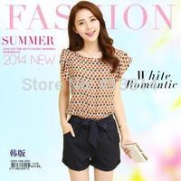 Fashion Summer Women Casual Short Sleeve O neck Chiffon Jumpsuits Rompers macacao feminino C016