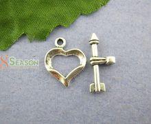 30Sets Cupid Arrow Heart Toggle Clasps 13 16mm Mr Jewelry