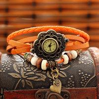 Free Shipping Wholesale Dropship Hot Sale Fashion Watch Flower Vintage Leather Sunflower Quartz Watches Ladies Leather