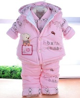 Retail Cartoon baby Baby's winter suit sets Children's clothing sets thickening cotton Hoodie Vest + Coat +Pants SV19 SV010063