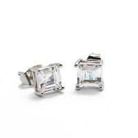 Real Platinum plating Multi CZ Diamond AAA+ Stud Earring CTE010