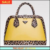 Fashion Women PU Leather Handbag Panelled Leopard Female Messenger Bag Fashion Yellow Shoulder Bag  B059