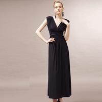 New 2014 women evening dresses sexy deep v-neck casual dress brand Europe long dresses wedding evening dress vestidos