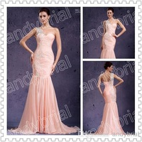 2015 Graceful One-Shoulder Prom Dresses Applique Floor-Length Mermaid Style Party Gown Evening Dress