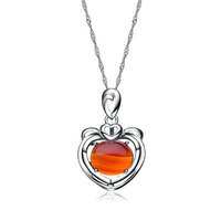 Wholesale for 100% Real 925 Sterling Silver Red Chalcedony Pendant with White Gold, 925 Silver Pendant,Top Quality!! (I1174)