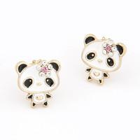 Earrings For Women New 2014 Fashion Korean Cute Bear Earrings Panda Stud For Women Accessories Jewelry Brincos Grandes Wholesale