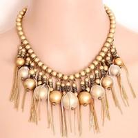 Gorgeous golden Bead Tassel temperament short necklace sweater chain  fashion jewelry