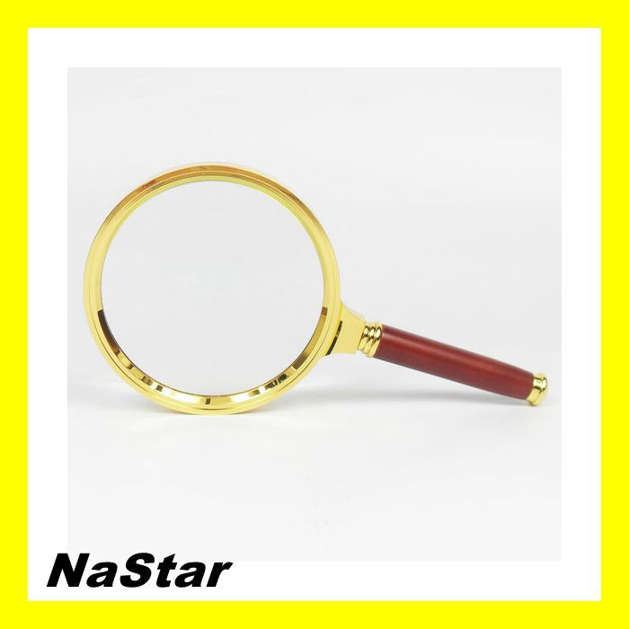 90 mm Magnifying glass Wooden handle magnifier optical glass lenses 3x Magnification magnifiers Handheld Loupe Collectibles(China (Mainland))