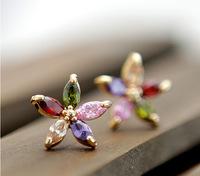 Flower Stud Earrings AA+ 18K Gold Plated CZ Cubic Zircon Earrings for Women Multicolor CZ Stones Christmas Gift   CTE012