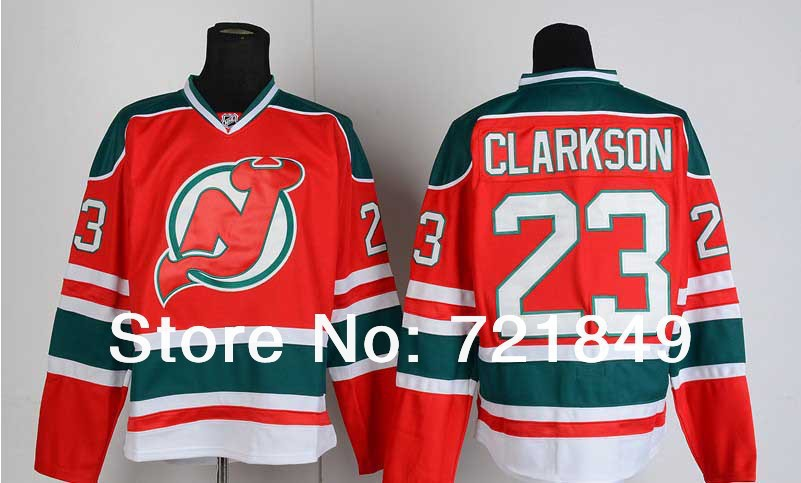 2014 New Arrival!!!2014 new New Jersey Devils Jerseys 23 David Clarkson Ice Hockey white red home New Season Authentic Jersey Fr(China (Mainland))