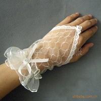HOT 2015 Spring Summer Fashion Bridal Formal Wedding Gloves Short Fingerless Lace Mesh Yarn Marriage Gloves
