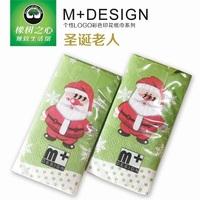 2014 NEW Fashion Green Red Santa Claus Cartoon pattern printing (2pcs) glossy paper Paper Napkins & Serviettes