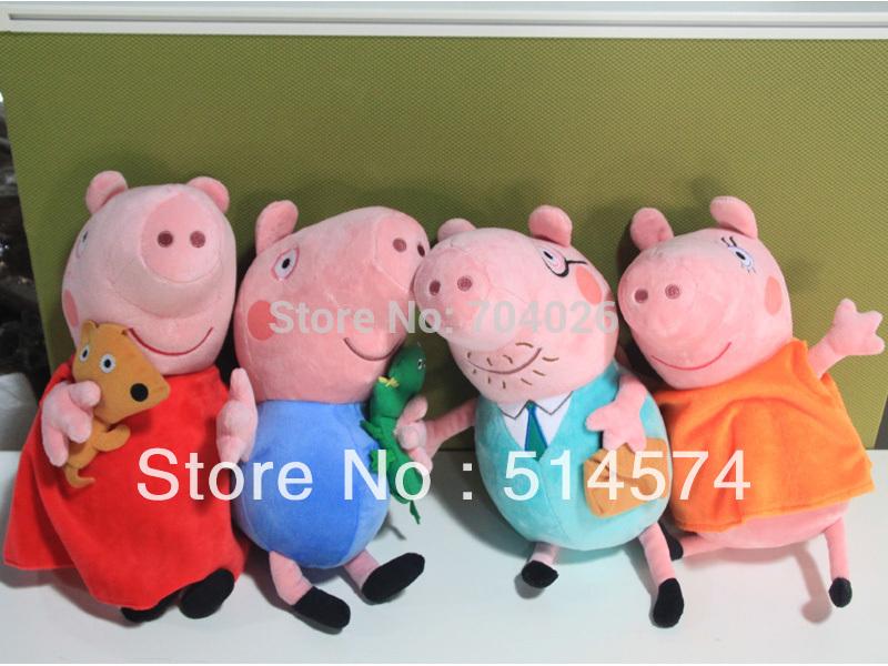 4 grandes tamanho 12 polegadas bonito peppa pig boneca de pelúcia porco de pelúcia george papa mãe dos miúdos criança brinquedos de varejo(Hong Kong)