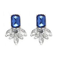 Vintage Stud Earrings Blue Crystal Big Earrings for Women Imitated gemstone jewelry brincos grandes CE114