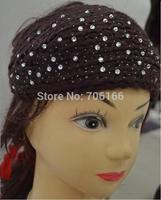 Classic Handmade crochet Rhinestone hair bands girls winter headwear warm ,Epacket free shipping