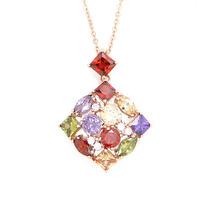 AAA+ 18K Platinum Gold Plated CZ Cubic Zircon Square Necklaces Pendants for Women Multicolor CZ Stones Christmas Gift CTN001